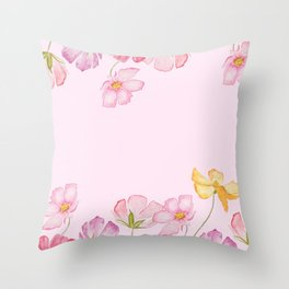 colorful cosmos flwoer in pink background Throw Pillow