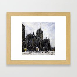 St Giles in the Snow Framed Art Print