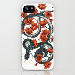 Let Go, Let Grow – Teal Snake in Red Poppies iPhone Case
