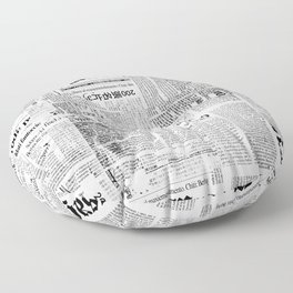Black And White Collage Of Grunge Newspaper Fragments Floor Pillow