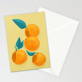 Oranges on yellow Stationery Cards