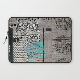 Grey Teal Abstract Art  Laptop Sleeve