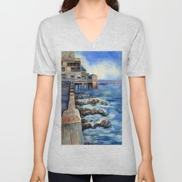 Walking with Steinbeck on Cannery Row Unisex V-Neck