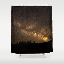 Above the Horizon - Milky Way Galaxy Above Treeline in Colorado Shower Curtain