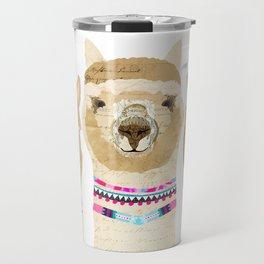 Colorful Alpaca Collage Travel Mug