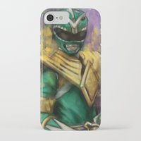 power ranger iPhone & iPod Cases featuring Green Mighty Morphin Power Ranger by SachsIllustration
