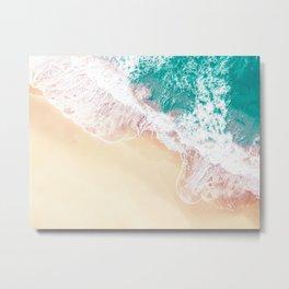 Teal and Peachy | Aerial Beach Print Metal Print