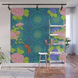 Nonya Peonies and butterfly Wall Mural