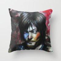 daryl dixon Throw Pillows featuring Daryl Dixon by Jhaiku