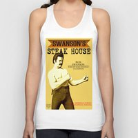 parks and rec Tank Tops featuring Ron Swanson  |  Steak House Parody |  Parks and Recreation by Silvio Ledbetter