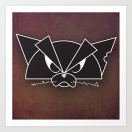Crabby Cat - black Art Print