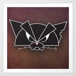 Crabby Cat - black Art Print
