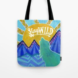Stay Wild Wolf Sunset Tote Bag