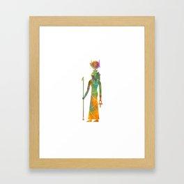 Egyptian god Hathor in watercolor Framed Art Print