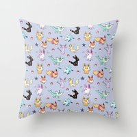 umbreon Throw Pillows featuring Eeveeloution Pattern by Sophie Eves