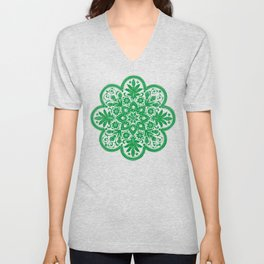 Floral Doily Pattern | Green and White Unisex V-Neck