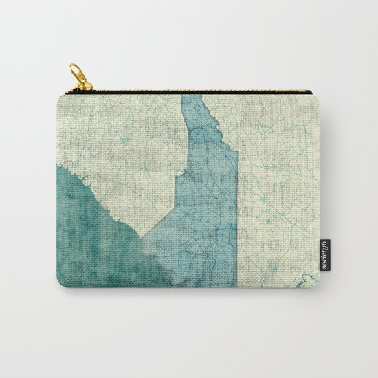 North Carolina State Map Blue Vintage Carry-All Pouch
