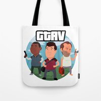 grand theft auto Tote Bags featuring Grand Theft Auto V Cartoon by Aaron Lecours