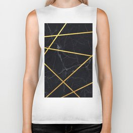 Black marble with gold lines Biker Tank