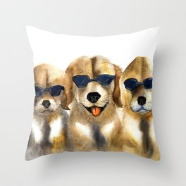 Yellow dogs  in funny glasses Throw Pillow