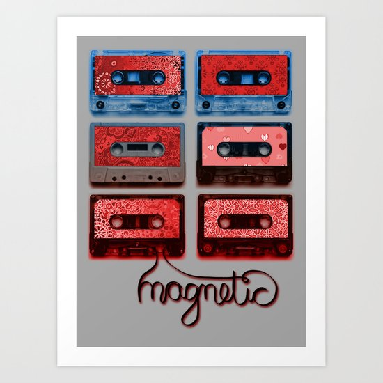 Magnetic - funky patterned mix tapes Art Print