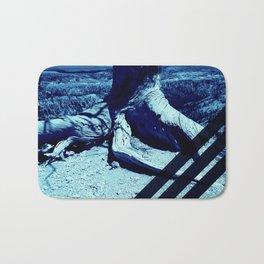 Blue Grid on Nature Bath Mat