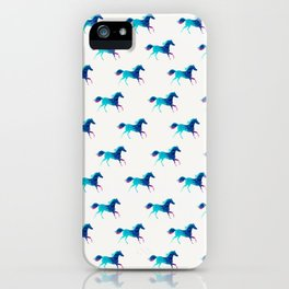 blue horse pattern iPhone Case