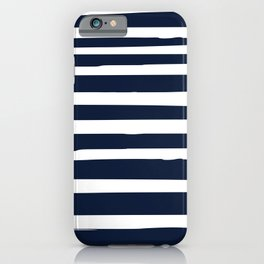 Ocean Stripes, Modern, Abstract, Navy Blue and White iPhone Case