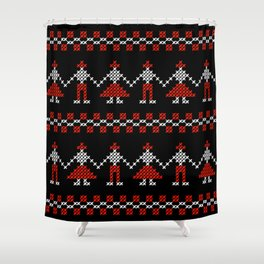 Traditional Romanian dancing people cross-stitch motif black Shower Curtain