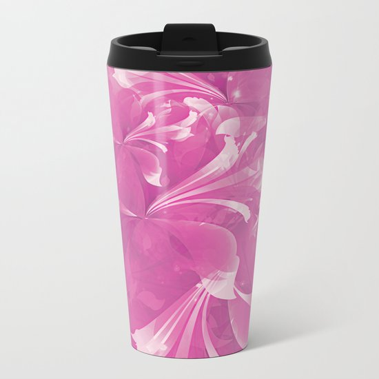 Stylized flowers in pink Metal Travel Mug