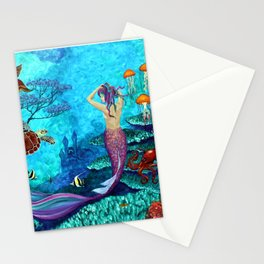 A Fish of a Different Color - Mermaid and seaturtle Stationery Cards