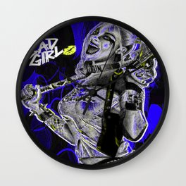 Bad Girl In Blue Wall Clock