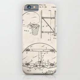 Basketball Goal Vintage Patent Hand Drawing iPhone Case