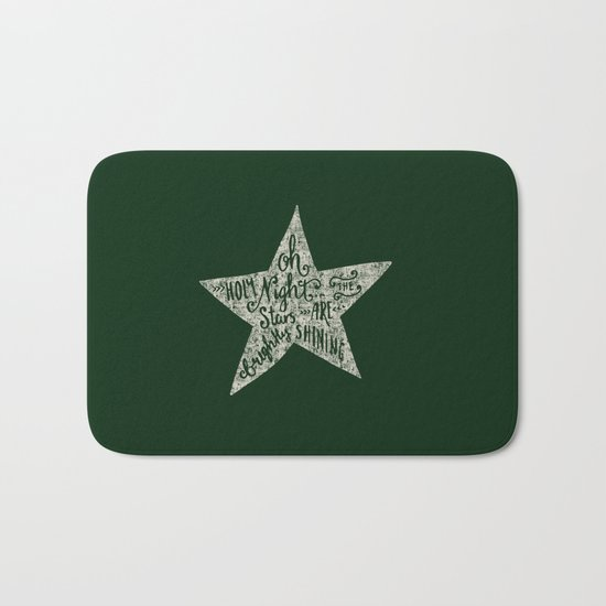 Oh holy night- Merry christmas- Illustration Star with Typography on festive green Bath Mat