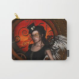 Wonderful steampunk lady with wings and hat Carry-All Pouch