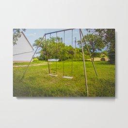 Swingset at the Church, North Dakota 1 Metal Print