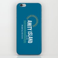 1975 iPhone & iPod Skins featuring Amity Island Vintage 1975 - Jaws by Dukesman