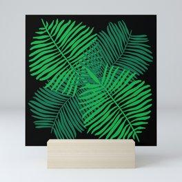 Modern Tropical Palm Leaves Painting black background Mini Art Print