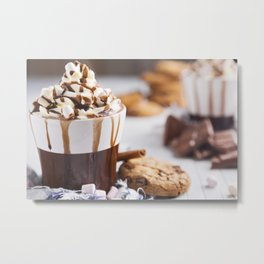 Messy hot chocolate, cream and marshmallows and a choc-chip cookie Metal Print