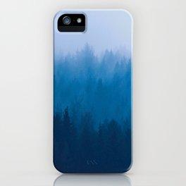 Blue Mountain Pine Trees Blue Ombre Gradient Colorful Landscape photo iPhone Case