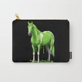 Neon Green Wet Paint Horse Carry-All Pouch