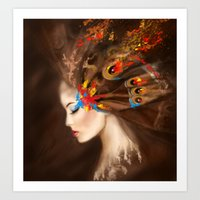 Fantasy Portrait beautiful woman butterfly. Abstract illustration Art Print