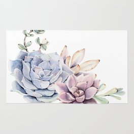 Pristine Succulents Blue and Pink Rug