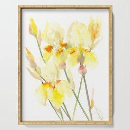Yellow Irises, Soft yellow Floral Art Serving Tray