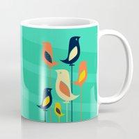 mid century Mugs featuring Mid Century Birds by Sam Osborne