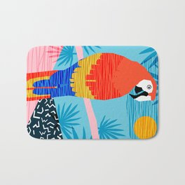 Say What - memphis throwback retro neon tropical 1980s 80s style hipster bright bird paradise art Bath Mat