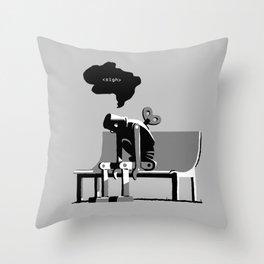Robot Blues Throw Pillow