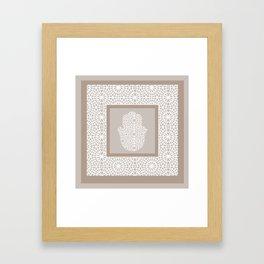 Hamsa in morrocan pattern Framed Art Print