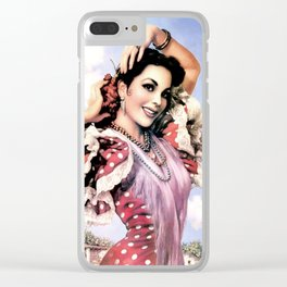 Jesus Helguera Painting of a Delightful Mexican Calendar Girl Clear iPhone Case