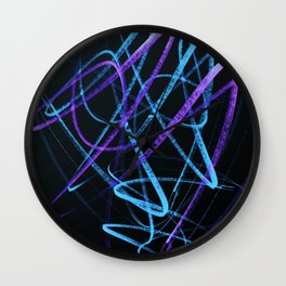 Sky Blue and Bold Violet Wavy Lines Wall Clock